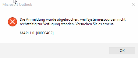 Die Anmeldung wurde abgebrochen, weil Systemressourcen nicht rechtzeitig zur Verfügung standen